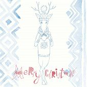 Christmas Background And Greeting Card With Deer