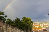 view from the Prague Castle in the old town and a rainbow
