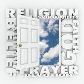 Religion word and related terms like god, belief, morality, spirituality, prayer, devotion and faith around a door opening to a new life