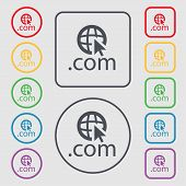 Domain Com Sign Icon. Set Of Colored Buttons. Vector