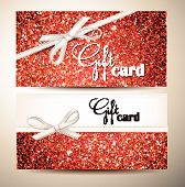 Elegant red shiny cards with silk white ribbons