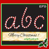 ABCDEF, vector christmas sugar-candy font on a background