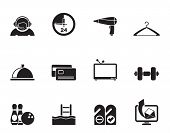 Silhouette hotel and motel amenity icons