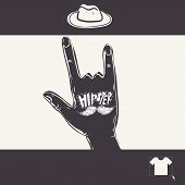 Vintage Hand With Hipster Mustache