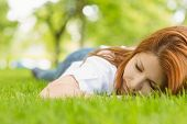 Portrait of a pretty redhead resting on grass in park