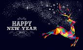 New Year 2015 Reindeer Poster Design