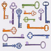 Retro keys stylish background. vector illustration