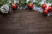 Christmas Background With Colorful Red Baubles