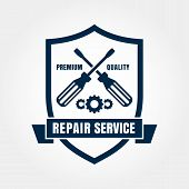 Vintage Style Car Repair Service Shield Label. Vector Logo Design Template