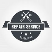 Vintage Style Car Repair Service Label. Vector Logo Design Template
