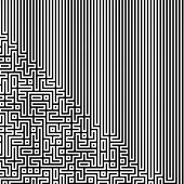 Fractal Black Line Intersecting Abstract Maze / Labyrinth