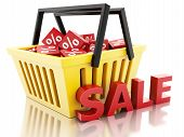 3d Shopping basket with discount cubes. sale concept on white ba