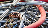 Copper Cable And Electric Cables In A Landfill For Recycling