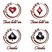 Set of poker vector icons with playing card symbol on a white background
