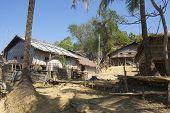 Traditional Marma hill tribe buildings exterior, Bandarban, Bangladesh.