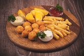 Fried Potato Platter With Dips