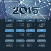 Calendar 2015 with Blue Abstract Background Template Design. Vector Illustration