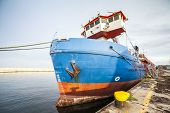 Cargo ship moored in a harbor