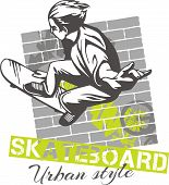 Skateboarding - urban style, vector illustration
