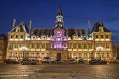 Illuminated Town Hall Of Reims