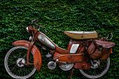 stock photo of scooter  - Vintage 60s French Moped Or Scooter With Pannier Bag And Flat Tyre Or Scooter Against An Ivy Background - JPG