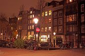 City scenic in Amsterdam Netherlands by night