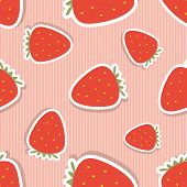 Strawberry Pattern. Seamless Texture With Ripe Red Strawberry