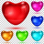 Set Of Transparent Glossy Hearts