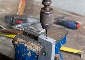 Drilling Of Metal With An Old Hand Drill