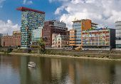 Dusseldorf, Germany - September 14, 2014 Panorama With Rhine River And A Boat