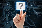 Hand pushing virtual question button