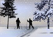 illustration with two skiers in forest under snowfall