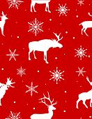 illustration with seamless background from white deers and snowflakes