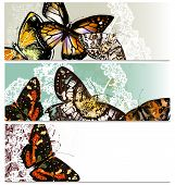 Floral Business Cards Set With Butterflies
