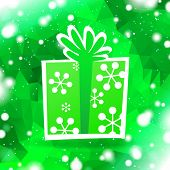 green background with gift