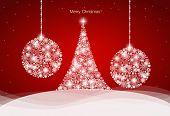Christmas background with Christmas tree and Christmas balls, vector illustration.