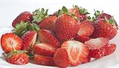 Fresly Picked Strawberries On A Plate