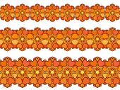 Ornamental heart and flower Seamless border Vector set Orange color