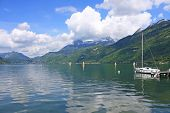 image of annecy  - yacht moored on Lake Annecy in France - JPG