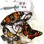Grunge Music Background With Butterflies And Notes