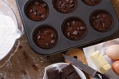Preparation Of Chocolate Muffins Closeup Top View Horizontal