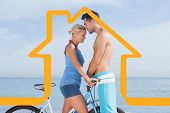 Cute couple together with their bicycles against house outline