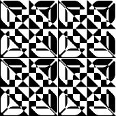 Abstract Star Pattern. Vector Seamless Black and White Background. Regular Checkered Texture