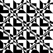 Abstract Square Pattern. Vector Seamless Black and White Background. Regular Checkered Texture