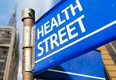 Health Street blue road sign