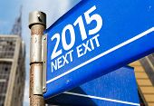 2015 Next Exit blue road sign