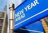New Year Ahead blue road sign