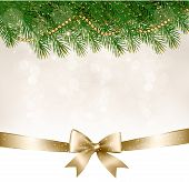 Christmas Background With Christmas Tree Branches And Gold Ribbon. Vector Illustration
