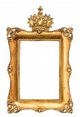 picture of crown  - baroque golden picture frame isolated on white background - JPG