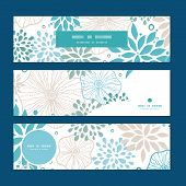 Vector blue and gray plants horizontal banners set pattern background